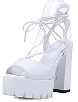 Women's Shoes Chunky Heel Peep Toe / Platform Sandals Wedding / Party & Evening / Dress Black / White