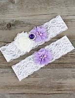 2pcs/set Lavender And White Milk Satin Lace Chiffon Beading Wedding Garter