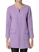 Women's Solid Yellow / Purple Coat,Simple Long Sleeve Nylon