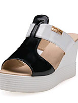 Women's Shoes Leatherette Summer Wedges / Heels Outdoor / Casual Wedge Heel Black / White