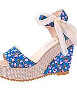 Women's Shoes PU Wedge Heel / Heels Wedding / Party & Evening / Dress / Casual Black / Blue / White / Beige