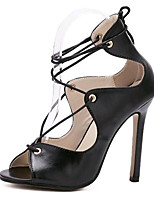 Women's Shoes Leatherette Summer Heels Party & Evening Stiletto Heel Lace-up Black / White