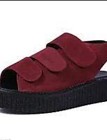 Women's Shoes Fleece Summer Creepers Outdoor / Casual Platform Buckle Black / Red / Gray