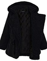 Women's Solid Black Pea Coats,Plus Size Long Sleeve Wool / Polyester