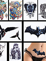 8PCS Water Transfer Force Lion Wing Animals Pattern Flower Back Body Art Temporary Tattoo Sticker New Decal