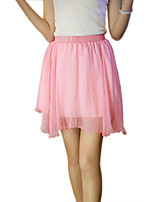 Women's Solid Blue / Pink / Red / White / Black / Green / Gold /Rose Red/ Wine Skirts,Casual / Day / Street chic Mini