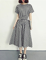 Women's Simple Houndstooth Loose Dress,Round Neck Midi Polyester