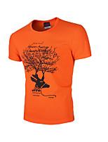 Men's Print Casual T-Shirt,Cotton Short Sleeve-Green / Orange / White / Gray
