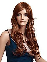 vrouwen modieuze bruine kleur lang lengte krullend synthetische pruiken