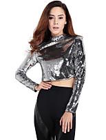 Haoduoyi Women's Round Neck Long Sleeve T Shirt Silver-15116F622