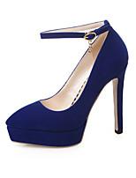 Calçados Femininos-Saltos-Arrendondado / Bico Fechado-Salto Agulha-Preto / Azul / Vermelho-Flanelado-Escritório & Trabalho / Social /
