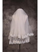 Wedding Veil Two-tier Elbow Veils / Fingertip Veils Cut Edge / Lace Applique Edge