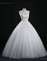 웨딩 드레스-볼 드레스 바닥 길이 스쿱 튤