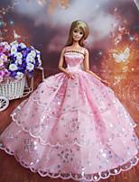 Poupée Barbie-Rose-Princesse-Robes- enSatin / Dentelle