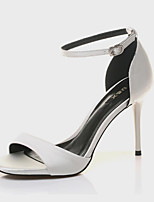 Women's Shoes Synthetic Stiletto Heel Peep Toe Sandals Wedding/Office & Career/Party & Evening/Dress/Casual Black/White