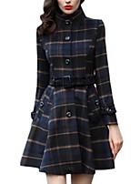 Women's Plaid Blue Coat,Street chic Long Sleeve Polyester