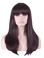 Long Length Brown Color Straight Hair European Weave Synthetic Wig