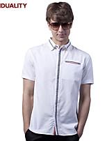 Trenduality® Men's Shirt Collar Short Sleeve Shirt & Blouse Black / White-82052