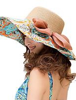 Women Canvas Floral Straw Wide Brim Foldable Straw Sun Hat