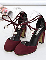 Women's Shoes Leatherette Stiletto Heel Comfort Heels Outdoor Black / Red / Gray