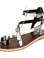 Women's Shoes Leatherette Summer Comfort Outdoor / Casual Flat Heel Buckle Black / White / Silver / Gold