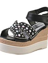 Damenschuhe-Sandalen-Outddor / Kleid / Lässig-PU-Keilabsatz-Vorne offener Schuh-Schwarz / Weiß / Silber