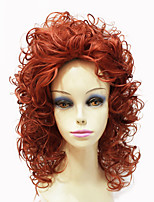 Capless Top Grade Synthetic Orange Medium Length Poppy Curly Women Wig
