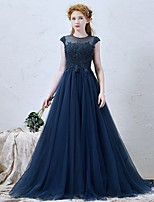 Formal Evening Dress-Ink Blue A-line Jewel Sweep/Brush Train Tulle