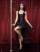 Women's Lace Patchwork Cincher Waist Corset,Lingerie Shaperwear Purple Fuchsia
