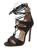Women's Shoes Leatherette Stiletto Heel  Open Toe Sandals Party & Evening / Dress Black