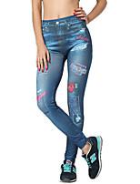 Women Print / Denim Legging,Polyester / Spandex Medium