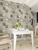 HaokHome®  Modern Faux Stone Wallpaper Roll Grey Brick 3D Realistic Textured Wall Paper Room Decoration Wall Covering