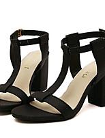 Chaussures Femme-Extérieure / Décontracté-Noir / Amande-Gros Talon-Talons-Sandales-Similicuir