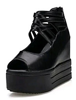 Women's Shoes Leatherette Summer Wedges / Heels Outdoor / Casual Wedge Heel Zipper Black / White