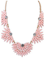 Fashion Punk Style Jewelry Statement Pink Flower Pendant Necklace For Lady Women Accessories