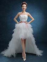 A-라인 웨딩 드레스 비대칭 끈없는 스타일 레이스 / 튤 와 레이스