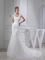 Trumpet/Mermaid Wedding Dress-Court Train Square Lace / Satin