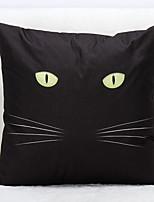 Black Cat Pattern Linen Pillowcase Sofa Home Decor Cushion Cover (18*18inch)