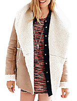 Women's Casual/Daily Simple Trench Coat,Color Block Long Sleeve Brown Faux Fur