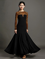 High-quality Viscose and Tulle with Draped Ballroom Dance Dresses for Women's Performance