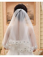 Wedding Veil One-tier Elbow Veils Lace Applique Edge Tulle White White