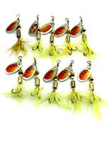 Hengjia 10pcs Spoon Metal Fishing Lures 60mm 3.6g Spinner Baits Random Colors
