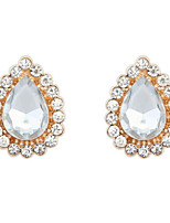 New Arrival Women Jewelry Mix Colors Fashion Water Drops Bright Rhinestone Gold Alloy Stud Earrings