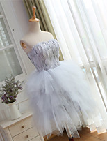 Cocktail party prom kleid ballkleid schatz knielänge tulle mit federn / pelz