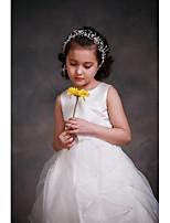 A-line Tea-length Flower Girl Dress-Satin / Tulle Sleeveless