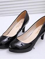 Zapatos de mujer-Tacón Cono-Tacones-Tacones-Oficina y Trabajo / Vestido-Semicuero-Negro / Blanco