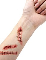 Waterproof Temporary Tattoo Sticker Halloween Terror Wound Realistic Blood Injury Scar Fake Tattoo Sticker