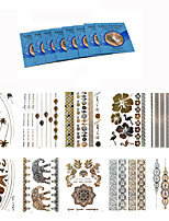 10Pcs Temporary Tattoo Gold Silver Jewelry Waterproof Henna Metallic Tattoo +8Pcs Cleansing Wipes