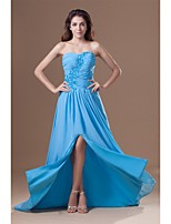 Formal Evening Dress A-line Sweetheart Sweep / Brush Train Chiffon with Appliques / Crystal Detailing / Side Draping / Split Front