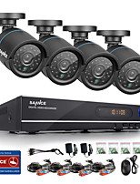 SANNCE® 720P AHD 8CH LED Vedio CCTV DVR Black Bullet Camera Home Surveillance Security Camera System